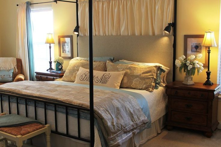 This easy bedroom update only costs $100 but it's so classy! Making your own headboard @brassandwhatnots.com/master-bedroom-headboard/