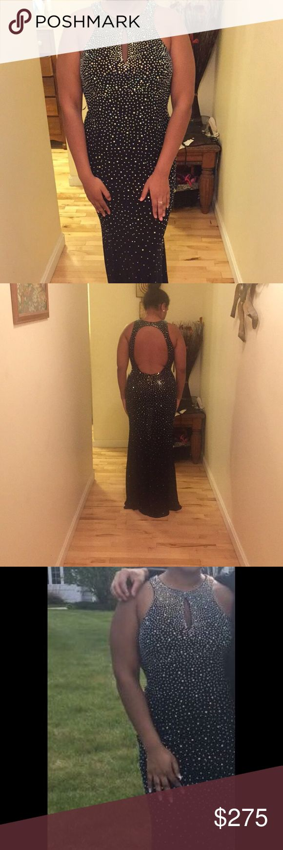 Size 12 midnight blue prom dress Midnight blue bejeweled floor length dress with a mesh peep hole in front open back worn once Dresses Prom