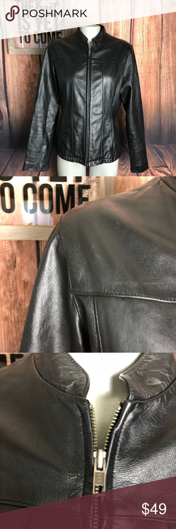 """Wilson's leather black jacket women's Nice pre owned condition measures 29"""" long an 20"""" pit to pit Wilsons Leather Jackets & Coats Utility Jackets"""