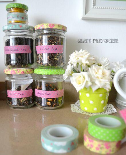 """Foto """"pinnata"""" dalla nostra lettrice Carla Corvasce, blogger di Craft Patisserie washi tape- jar- diy-home-easy"""