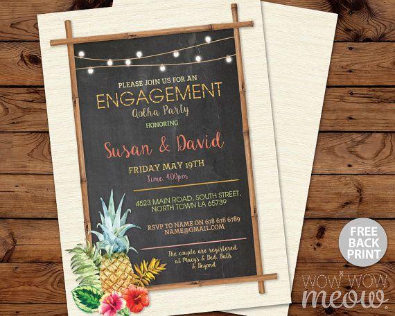 Aloha Engagement Invitations Hawaii Tiki Luau Party por wowwowmeow