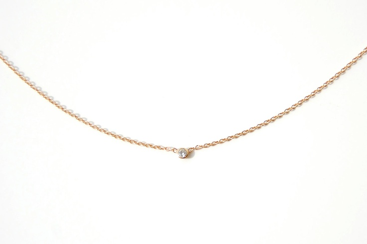 Diamond Necklace, Solitaire Necklace, Diamond Solitaire Necklace, Gold Diamond Solitaire Necklace, Nixin. $290.00, via Etsy.