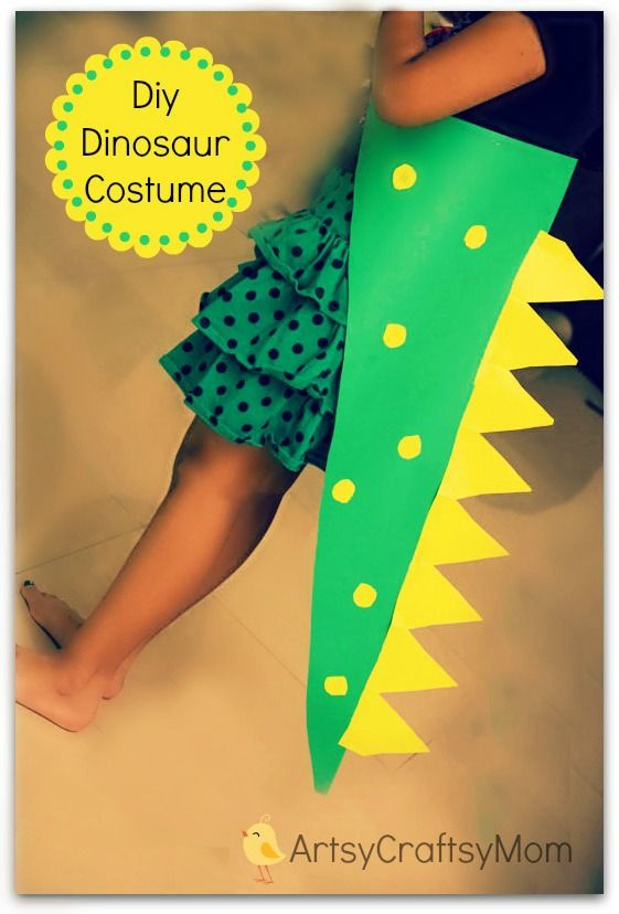 DIY No Sew Dinosaur costume for children (from Artsy Craftsy Mom) #dinosaur #craft #costume