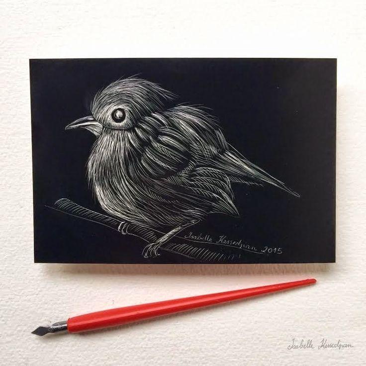 Oiseau sur carte à gratter par Isabelle Kessedjian - l'Atelier Géant
