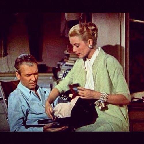 """Grace Kelly and Jimmy Stewart in """"Rear Window""""."""