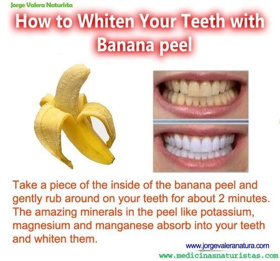 tomar un pedazo de la cáscara dentro y frote suavemente alrededor de los dientes durante unos 2 minutos. los minerales asombrosos en la cáscara como el potasio, magnesio, manganeso y absorber en los dientes y las han blanqueado