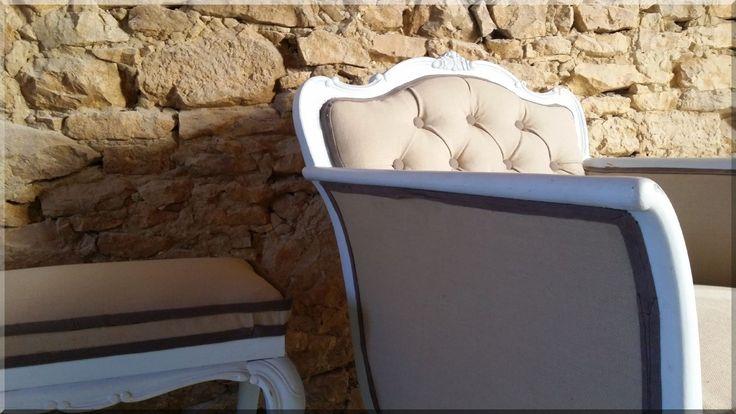 Shabby chic stílusú, felújított neobarokk fotel, zsámoly