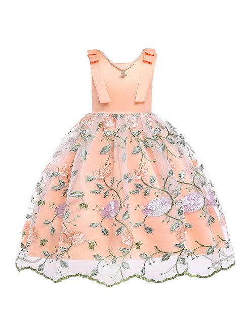 c0ac0c5e11d9 In Stock:Ship in 48 Hours Orange Tulle Embroidery Flower Girl Dress With  Pearls