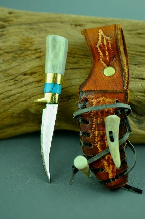Ken Richardson Custom Inlaid Turquoise And Deer Antler
