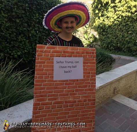 Awesome Mexican Wall Costume With Donald Trump Sign