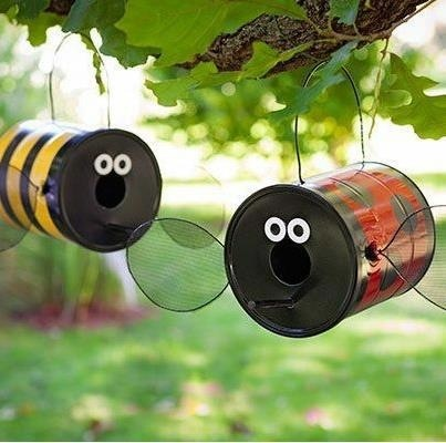 Cutie bug bird houses; this is a neat idea for the love bugs!!!
