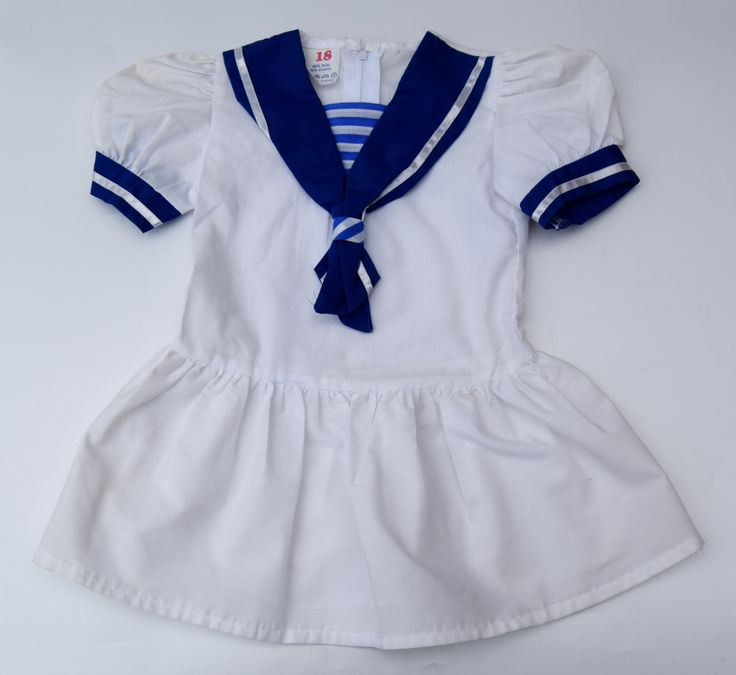 vintage matrozenjurkje marine stijl meisje peuter toddler 12-18 maanden luchtige zomerjurken wit marineblauw kinderkleding natrozenkraagje door Smufje op Etsy