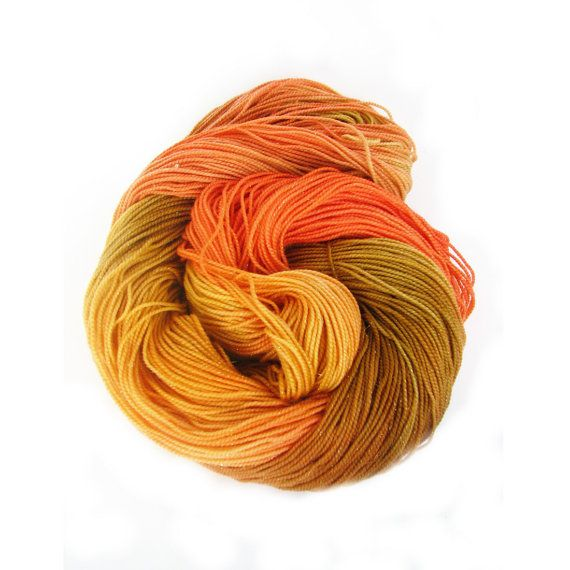 Autumn sparkle sock wool orange hand dyed fingering by SixSkeins, £14.00