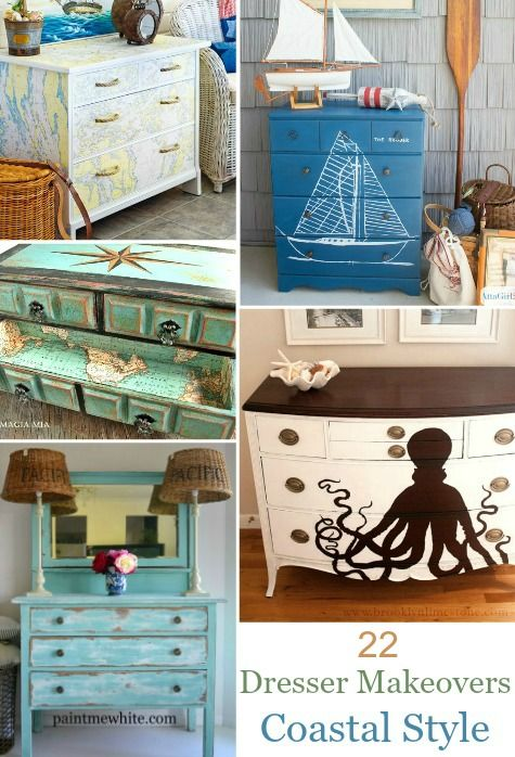 22 Ideas to Makeover a Dresser Coastal, Beach: http://www.completely-coastal.com/2016/01/dresseer-makeover-coastal-beach-nautical.html