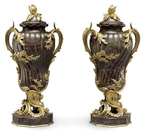 A PAIR OF FRENCH ORMOLU AND MARBLE VASES AND COVER…