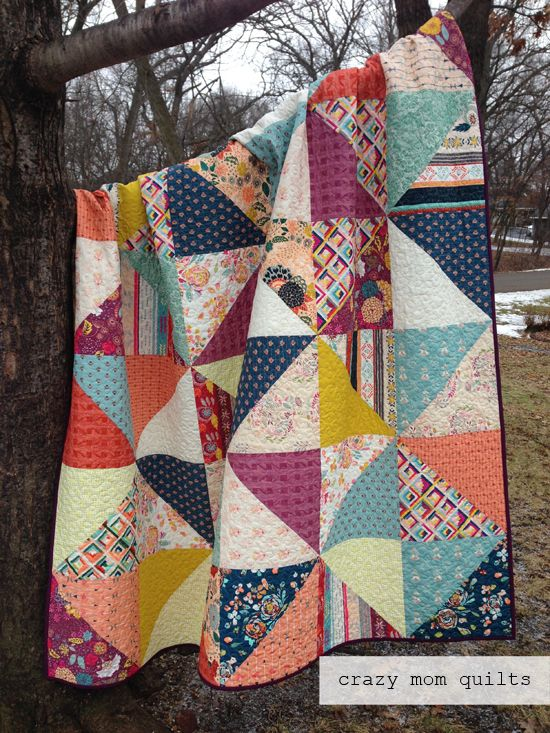 Crazy Mom Quilts broken dishes with Maureen Cracknell's Fleet and Flourish fabric