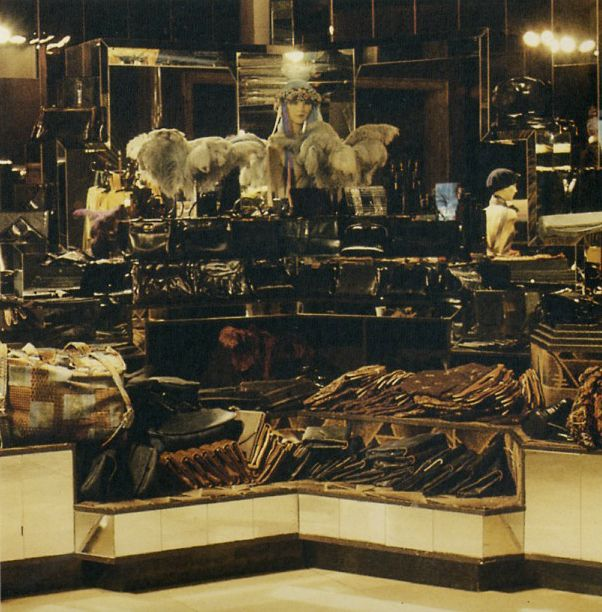 BIG BIBA OPENS, SEPTEMBER 10TH 1973. Handbags, suitcases and wallets counter