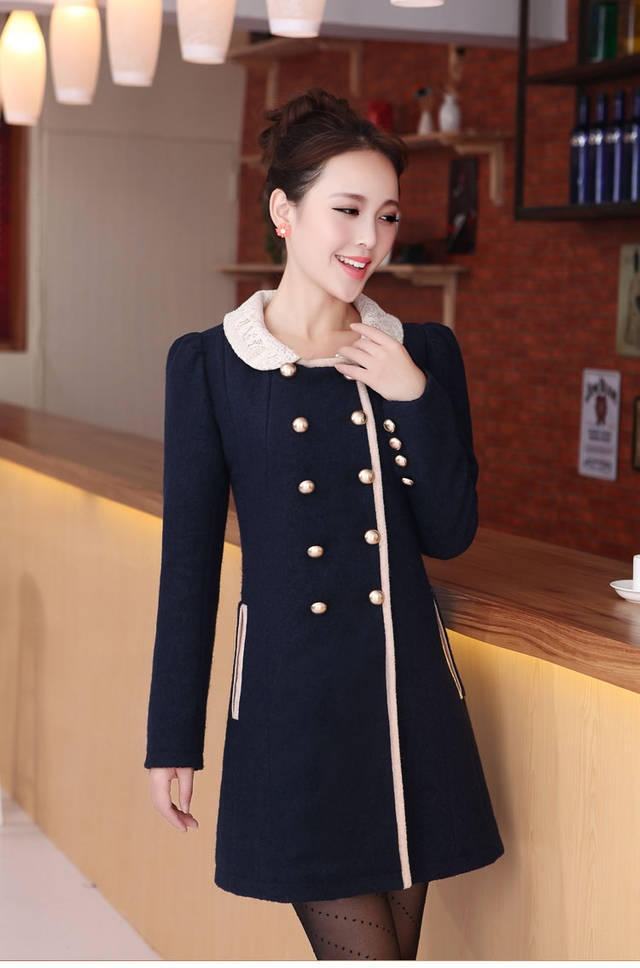 Blue Retro Double Breasted Korean Stylish Coat with Peter Pan collar  2