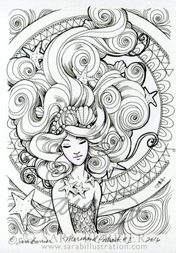 Mermaidportrait1 348x500 Adult Coloring PagesColoring SheetsMermaid