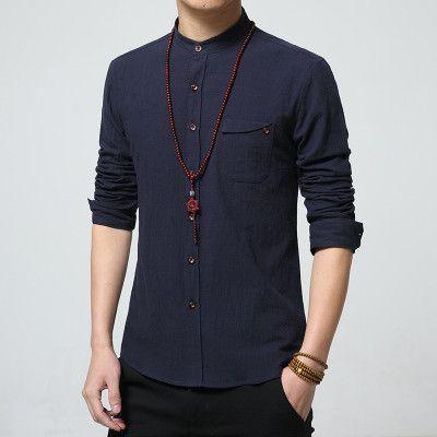 Tunic Collar Linen Shirt