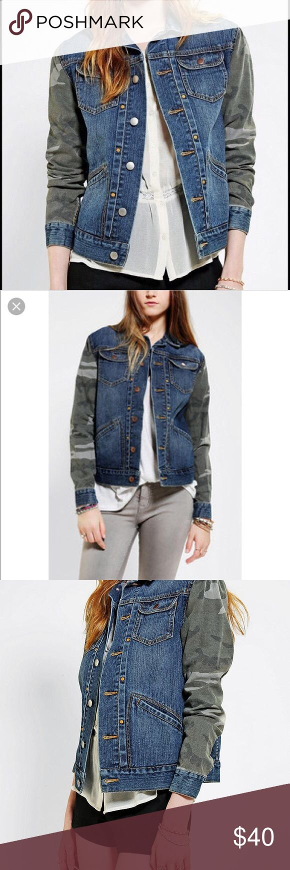"Urban Outfitters BDG Denim camouflage jacket Excellent condition no flaws like new Urban Outfitters jean jacket. Easy casual style goes with everything! 19"" across from armpit to armpit and 23"" long from shoulder to hem Urban Outfitters Jackets & Coats Jean Jackets"