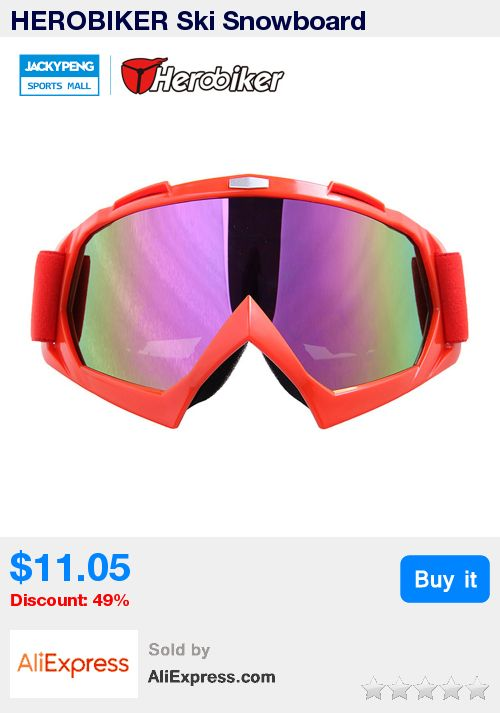 HEROBIKER Ski Snowboard Snowmobile Skate Goggles Glasses Outdoor Motorcycle Off-Road Dirt Bike UV400 Eyewear Color Lens * Pub Date: 14:02 Jul 10 2017