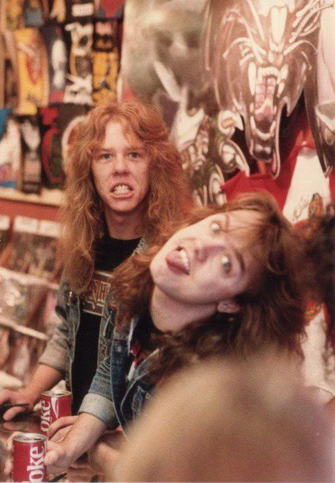 Metallica... In every picture, especially the old ones, someone's making a face like that. It's a thing.