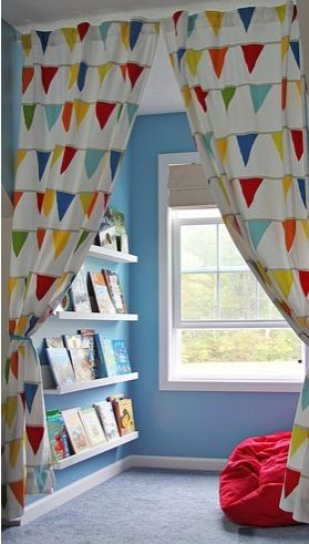Kids room, I like this curtain and books for underneath a bunk
