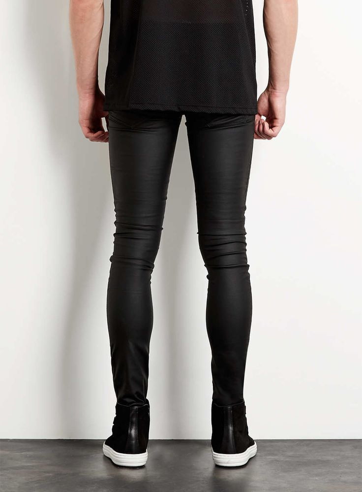 Black Leather Look Biker Spray On Skinny Jeans - TOPMAN USA