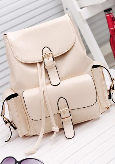 Foldover Buckled Backpack -  Beige - Cute Foldover Flap Bag