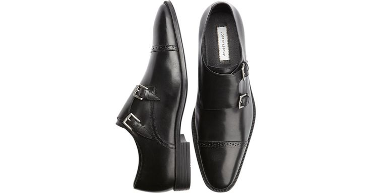 Check this out! Joseph Abboud Foxfield Black Double Monk Strap Shoes - Dress Shoes from MensWearhouse. #MensWearhouse