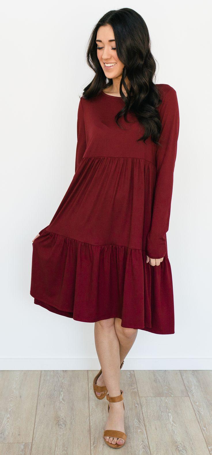 Miller Tiered Dress - Wine