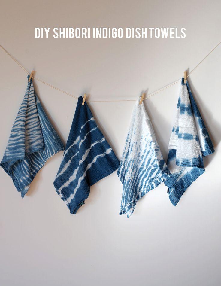 indigo dye dish towel tutorial on aliceandlois.com