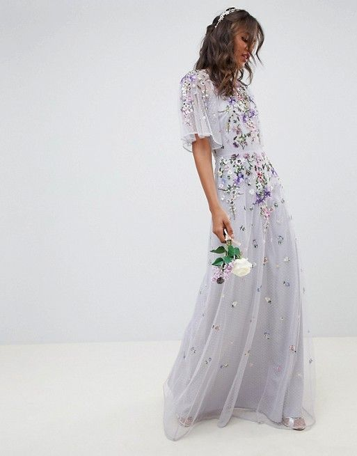 d2a89017bf022 ASOS Tall | ASOS DESIGN Tall Bridesmaid floral embroidered dobby mesh  flutter sleeve maxi dress