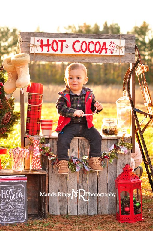 Hot Cocoa Stand styled mini session // sunny day, open field, pine trees, christmas tree, vintage sled, plaid thermos, wooden stand, marshmallows // St Charles, IL // by Mandy Ringe Photography