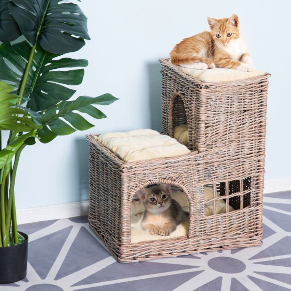 Pawhut 24 L Shaped 3 Tier Rattan Wicker Elevated Cat Bed Condo With Cushions 3 Tier Wicker Cat Condo Play House Cat Bed Cat Tree Condo Pet Beds