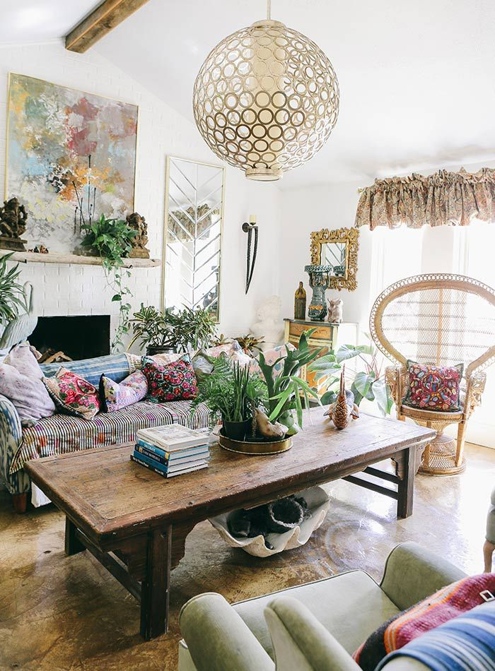 In North Texas A Maximalists Layered Bohemian Home DesignSponge Gorgeous Boho Living Room