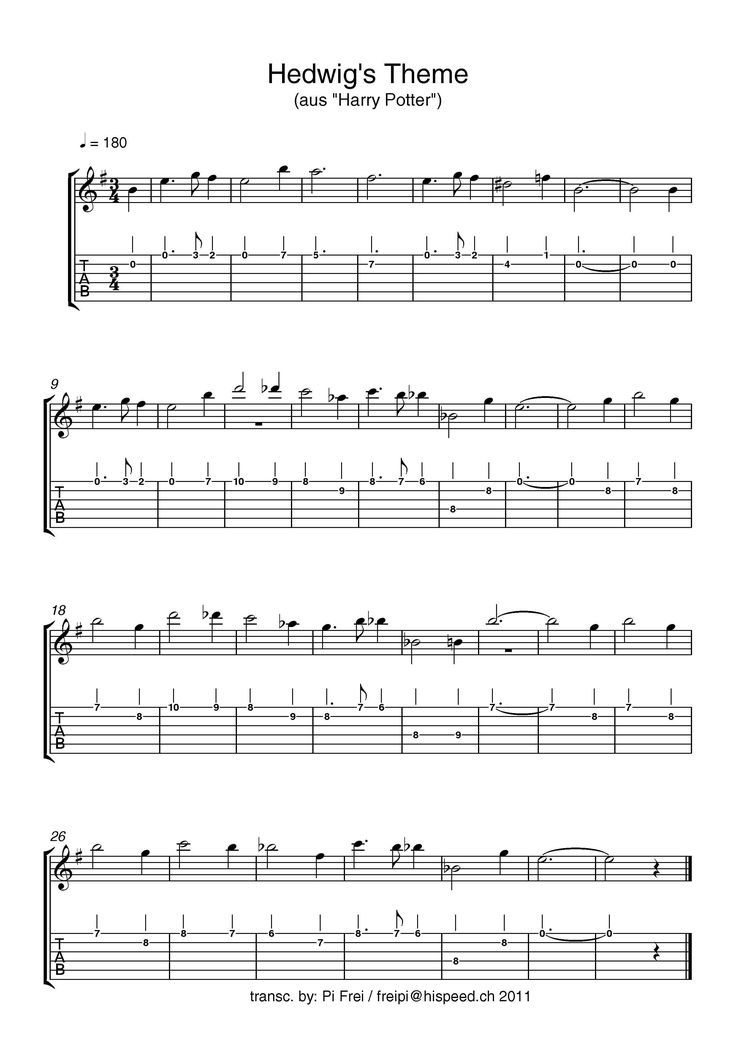 Clarinet Deingitarrensheet Hedwig39s Hedwigs Music Sheet