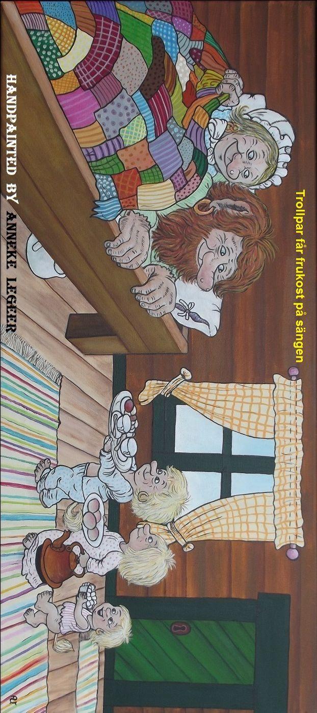 """"""" Trollpar får frukost på sängen """" , """" Trollpaar krijgt ontbijt op bed """" , handpainted by Anneke Legeer , the Netherlands , inspired by Rolf Lidberg. Weert , 24 juli 2017."""