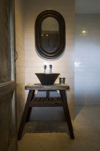 Vintage table, mirror blend with metro style tile