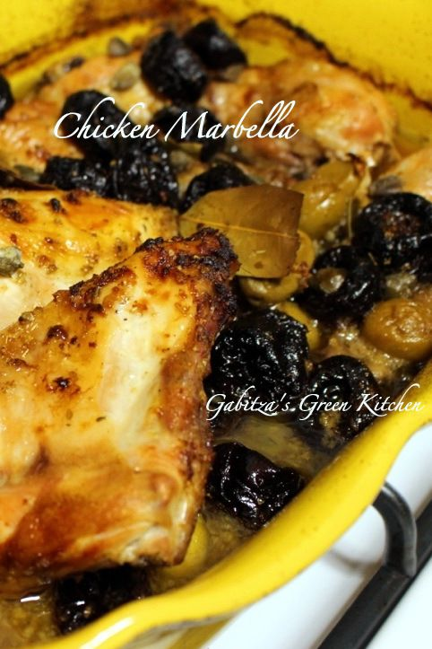 Chicken Marbella- a classic American recipe, perfect for entertaining- capers, prunes, green olives and chicken are the perfect elegant combination for a festive event.