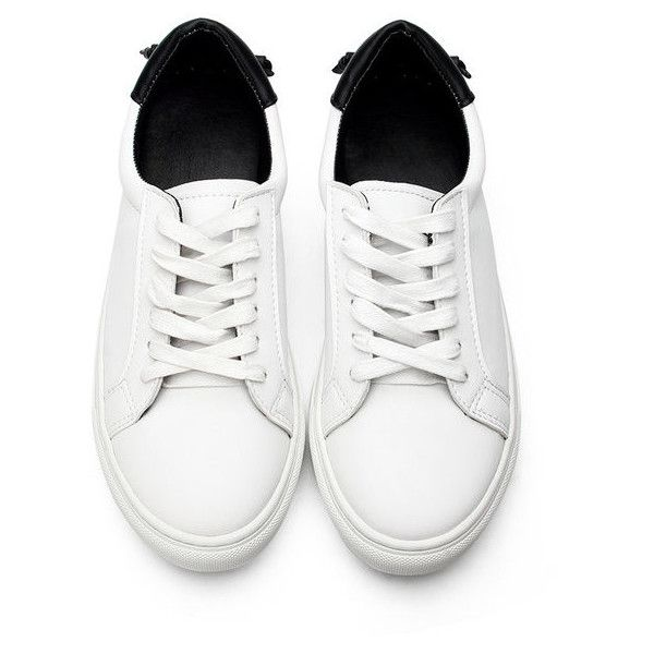 Yoins White Casual Leather Look Lace-up Sneakers with Black Back Part (1.135.365 VND) ❤ liked on Polyvore featuring shoes, sneakers, yoins, white summer shoes, black sneakers, summer shoes, white lace up sneakers and lace up shoes