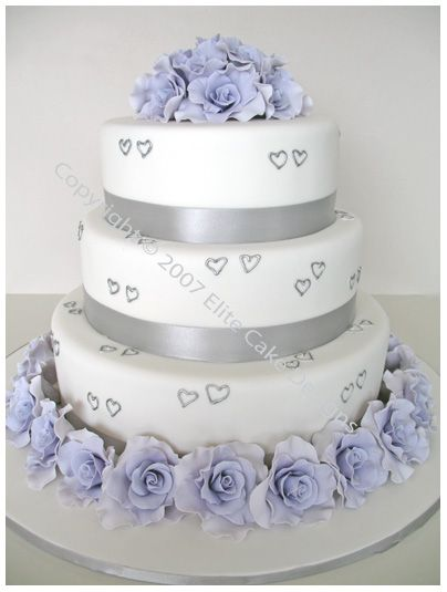 Purple Hearts And Roses | ... cake design featuring 3 tiers highlighted with little silver hearts