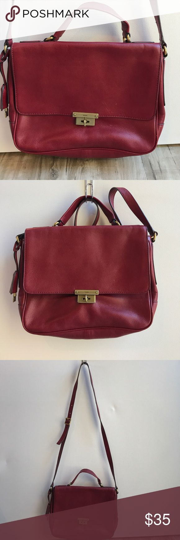 Fossil cross body in berry red Cute square Fossil crossbody bag. Handle and strap. 9x12x2. Boxy shape. Credit card slots in one pocket, multiple interior pockets. Back slide pocket. Great for a small tablet like the iPad mini. Used once. Fossil Bags Crossbody Bags