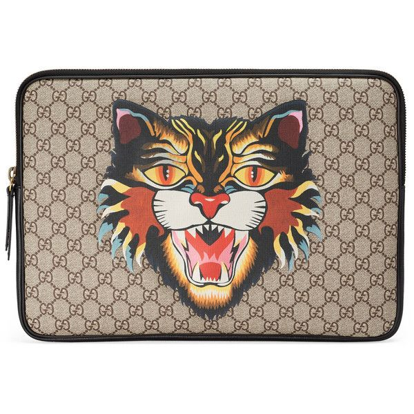 Gucci Angry Cat Print Gg Supreme Laptop Case (1.885 RON) ❤ liked on Polyvore featuring men's fashion, men's accessories, men's tech accessories, accessories, wallets & small accessories, women and mens leather accessories