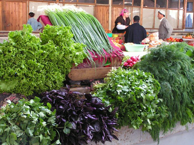 Various herbs and leaf vegetables in fruit and vegetable markets of the Central Bazaar (Le grand bazar ou Chorsu), Samarkand (Samarqand), Uzbekistan. Photographed on 21 October 2006.