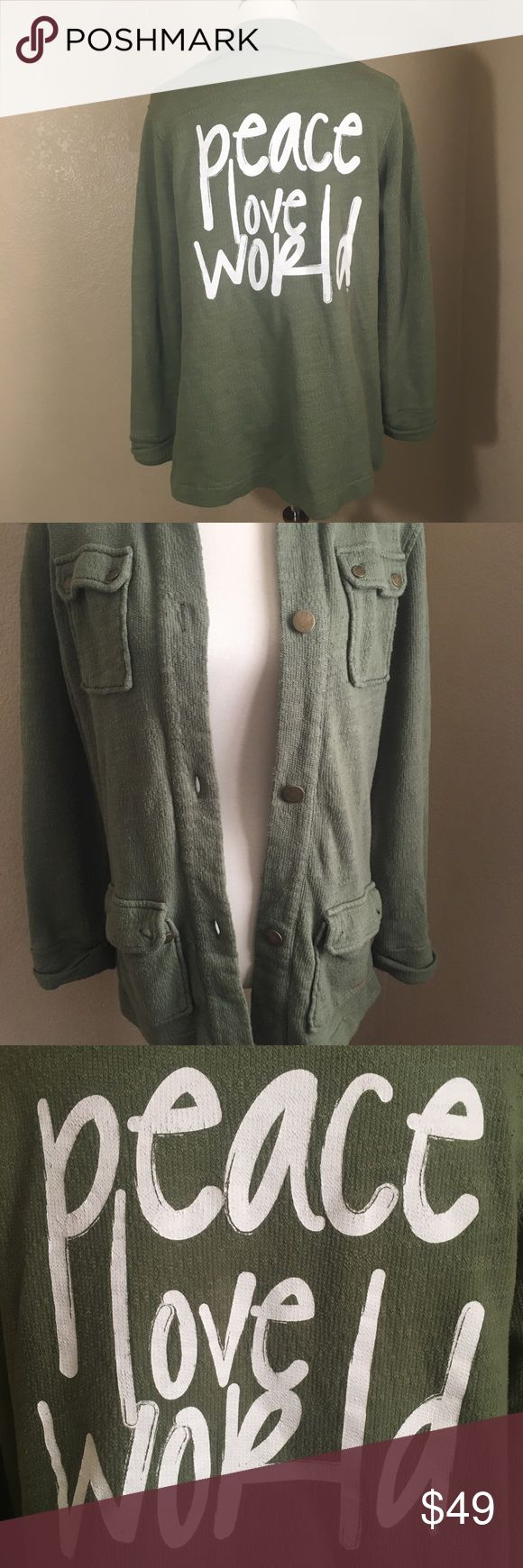 "Peace Love World Army Green Military Jacket Peace Love World Lightweight Military style Jacket with the phrase ""Peace Love World"" on back. Size small. Gently used l, great condition. No fading on the words. Jacket buttons up and has pockets. Peace Love World Jackets & Coats"