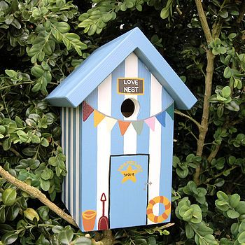personalised wedding beach hut bird box by lindleywood | notonthehighstreet.com