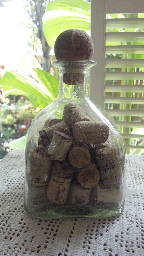 patron tequila bottle filled with corks glass by pattiespassion, $9.99 | Crafty Ideas | Pinterest
