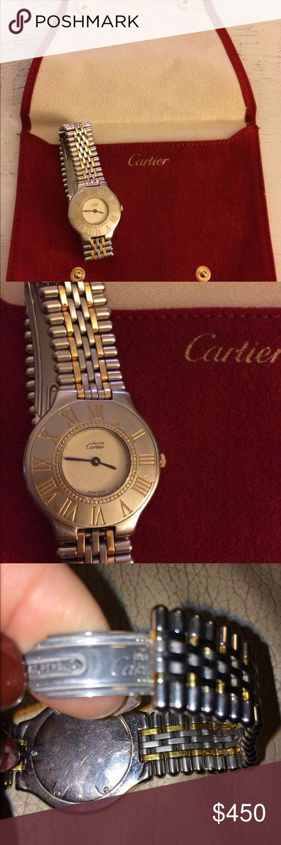 ⚡Cartier Vintage Must de Cartier Timepiece My very worn Cartier watch is looking for a home! I am the original owner, it is worn, 3 scratches on the face, yet keeps perfect time! Fit for my 7 inch wrist, links can be removed though! Please ask questions, own a piece of timeless and classic jewelry. Suede Cartier pouch is included!😀 Reasonable offers to serious buyers accepted! Cartier Accessories Watches